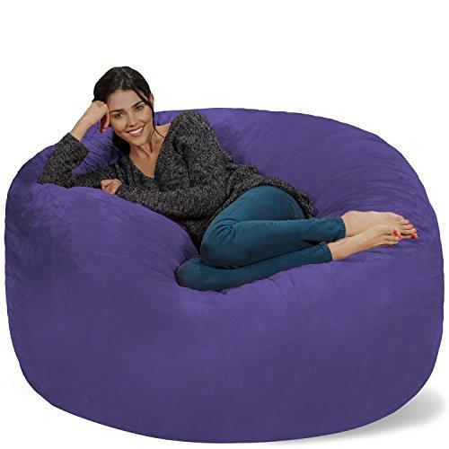 Chill Sacks Bean Bag Chair: Giant Memory Foam Furniture Bags and Large Lounger - Big Sofa with Huge Water Resistant Soft Micro Suede Cover - Purple, 5 feet
