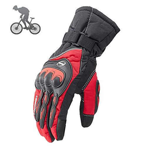 CHQQQ Motorcycle Gloves Men's Winter Warm Racing Gloves Cold And Windproof Waterproof Off-road Vehicle Gloves Touch Screen,Red-L