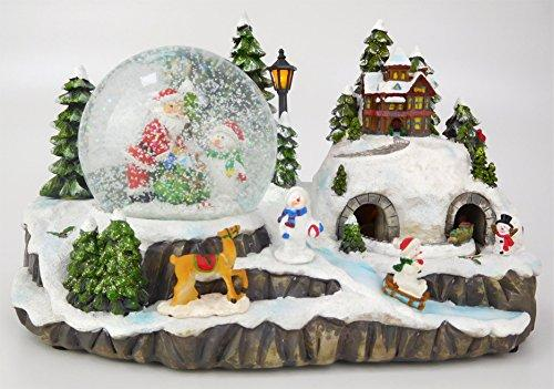 Christmas Concepts® 29cm Musical Christmas Resin Decoration With Christmas Snow Globe + Moving Train With LED Lights Battery Operated