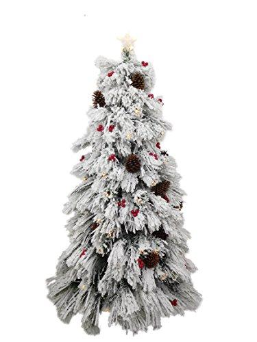 Christmas Concepts 6ft 180cm Pre Lit Christmas Tree With Snow Effect Cones Berries Warm White Led Lights