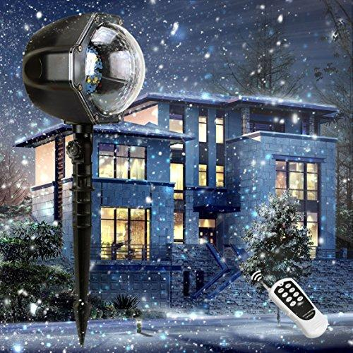 christmas decoration projector rotating snowfall spotlight falling night lights white snowflakewaterproof led