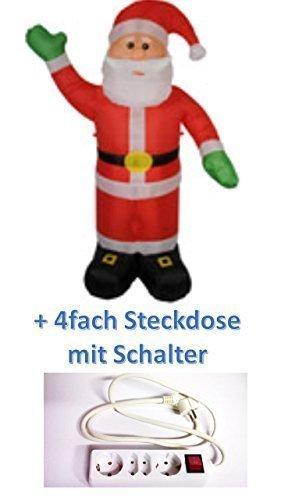Christmas Inflatable Santa Illuminated 240 cm for Indoor Outdoor Use + 4 Plug Sockets with Switch
