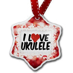 Christmas Ornament I Love Ukulele, red - Neonblond by NEONBLOND