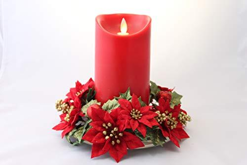 Christmas Pillar candle table decoration - Various Designs (Red Led Candle Poinsettia)