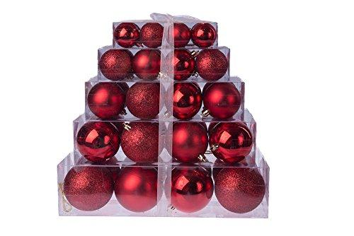 Christmas Red Shatterproof Orbs and Ornaments Cake Box - 80mm 40 Pack