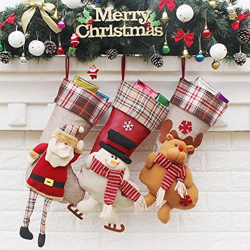 "Christmas Stockings (3 Pack) Decorations 18"" Cute Santa, Deer, Snowman Candy Socks Gifts Bag, 3D Applique Style, Detailed Designs, Embroidered Edges, Hanging Loops"