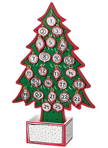 Christmas Tree Tabletop 24.5 Inch Wood Advent Calendar Set with 25 Pc Ornament Counters
