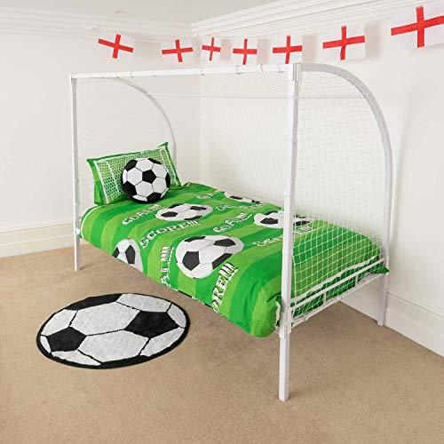 Christow Kids Football Goal Single Bed Frame Metal Post Net Soccer Bedroom Furniture