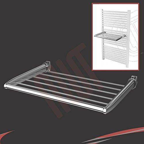 Chrome Shelf Towel Holder (460mm Wide) - Fix Directly to your Heated Towel Rail, Warmer