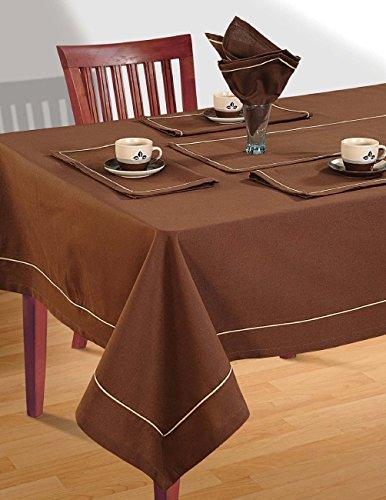 Cinnamon Brown Table Linen Set for 4 Seat Table: Includes Square Tablecloth, 4 Napkins & Table Runner - Premium Cotton Fabric