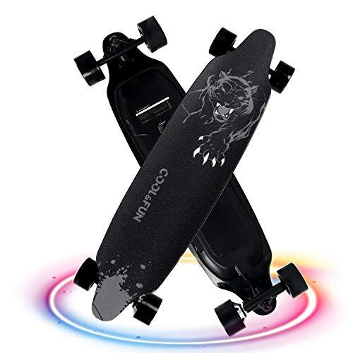 CITYSPORTS Electric Skateboard, 4 Wheels Longboard, Remote Control Electric Scooter, Adjustable 2 Speed Mode (black-1)
