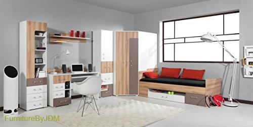 Classic Children/Kids Furniture Set Composition BLOG System B. Single Bed (mattress not included), Corner Innovative Wardrobes, Desk, Wall-mounted Shelve, 2 x Free Standing Door/Drawers Unit.