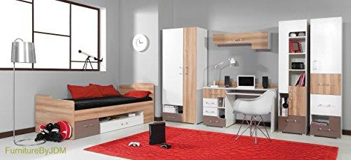 Classic Children/Kids Furniture Set Composition BLOG System D. Single Bed (mattress not included), 2D Wardrobe, Desk, Wall-mounted Shelve, 2 x Free Standing Door/Drawers Unit.