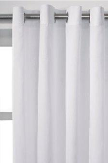 CLASSIC WHITE PLAIN RING TOP EYELET 56 X 63 LINED VOILE CURTAINS