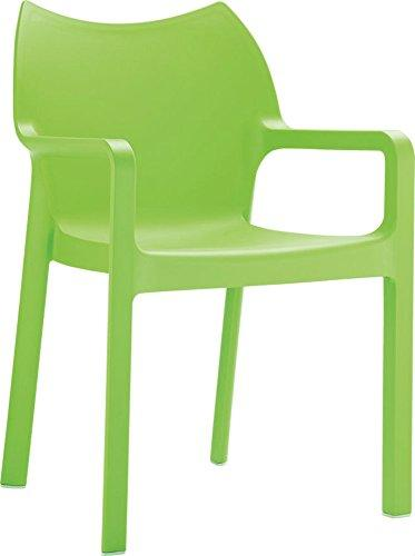 Clear Chair Store 028TG Diva Indoor and Outdoor Stacking Arm Chair (Set of 4), Tropical Green