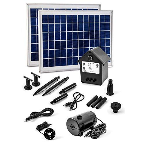 CLGarden NASP3Z Solar-Powered Fountain Pump 20W with Battery and LED 20 W Watt 2 panels