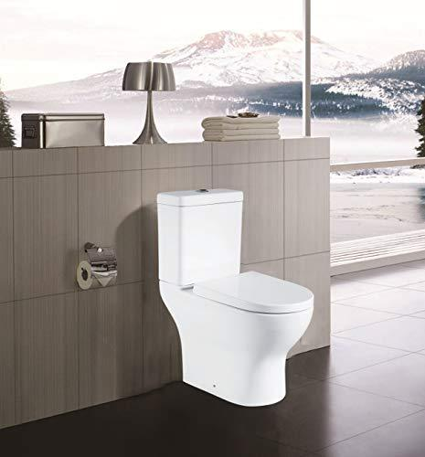 Close Coupled Toilet | Bathroom Cloakroom Two-Piece Toilet | White Ceramic | Soft Closing Seat