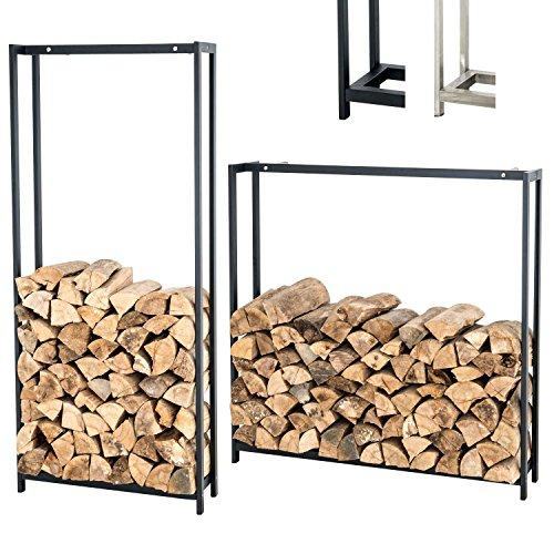 CLP Log for Fireplace Log Forest Vertical, Door in Stainless Steel, Log Store Shelf Wood for Indoor Space Heater, Design, Log Fireplace 125 x 120 cm Wall, Scratch-resistant 100x120 cm black matt