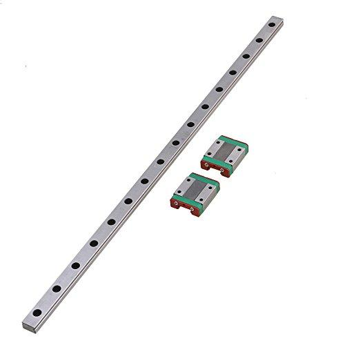 CNBTR L40cm MGN12 Miniature Silver Bearing Steel Linear Sliding Guide Bearing Slide Linear Guideway Rail & 2 Sliding Block for 3D Printer CNC Parts