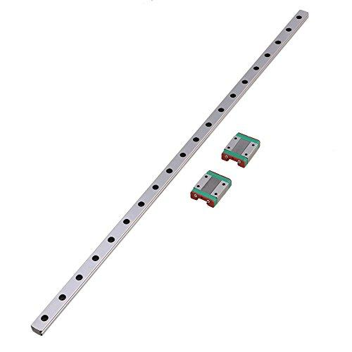CNBTR L50cm MGN12 Miniature Silver Bearing Steel Linear Sliding Guide Bearing Slide Linear Guideway Rail & 2 Sliding Block for 3D Printer CNC Parts