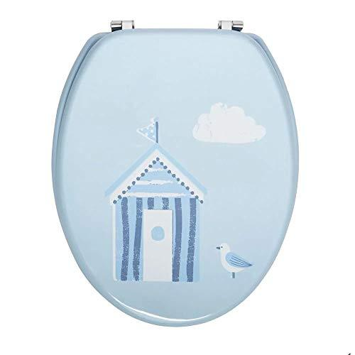 Coastal Beach Toilet Seat Blue - Seaside Furniture - Standard Round Durable Seat - Bathroom Style -
