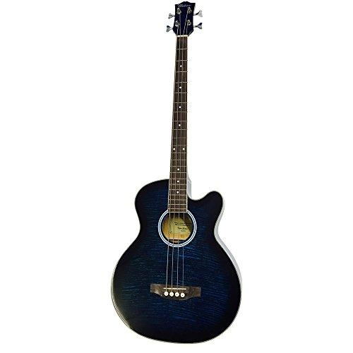 Coban Electro Luxury Gloss Blue Burst Acoustic Bass 4eq Guitar inc lead and Strap