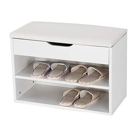 Cocoarm Shoes Cabinet, 2 Tier Wooden Shoe Bench Shoes Storage Organiser with PU Padded Set for Home Entryway Hallway White, 60 × 30 × 43 cm
