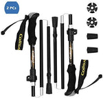 Colisal Collapsible Trekking Poles Hiking Sticks Folding Hiking Poles Folding Trekking Poles Folding Walking Poles Aluminum 2pcs Black with EVA Foam Grip