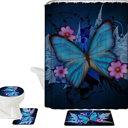 Coloranimal Bathroom Accessories Sets 16 Piece Sets, Beauty Animal Butterfly Printed Polyester Shower Curtain+Non Slip Bath Rug+Contour Mat+Lid Toilet Cover