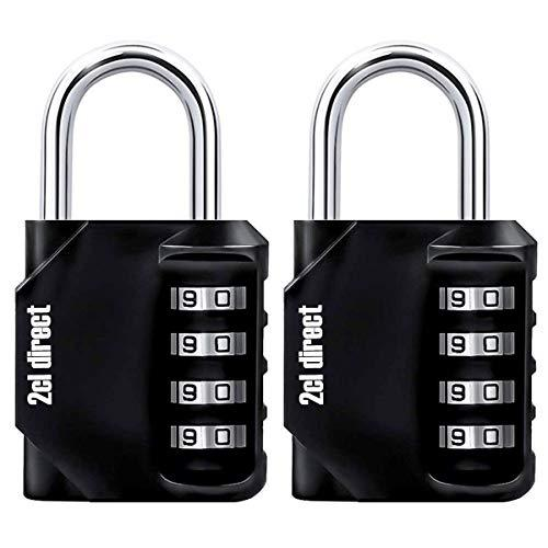 Combination Lock (2 Pack) Steel Luggage Lock, 4 Digit Combination Padlock Set for School, Employee, Gym or Sports Locker, Case, Toolbox, Fence, Hasp Cabinet and Storage, Black