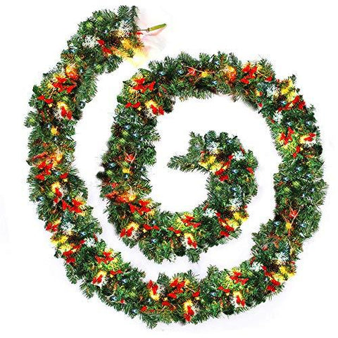Comficent 9ft Christmas Garland Decorations Christmas Garland for Stairs Fireplace Xmas Wreath Garland Illuminated with LED Lights