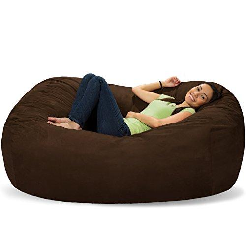 Comfy Sacks 6 ft Lounger Memory Foam Bean Bag Chair, Dark Chocolate Pebble