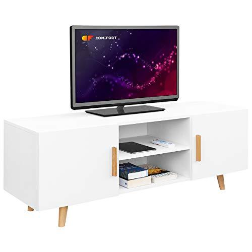 Comifort TV85 – TV Cabinet Living Room Modern Nordic Style TV Table, Colours: White, Oak, White/Oak 140 x 42 x 50 cm