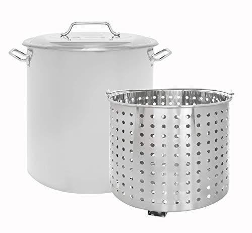CONCORD Stainless Steel Stock Pot w/Steamer Basket. Cookware Great for Boiling and Steaming (160 Quart)