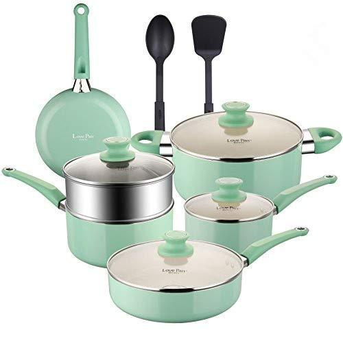 COOKSMARK Pots and Pans Set with White Ceramic Coating, Nonstick Aluminum Cookware Set with Glass lids and Nylon Utensils, Sauce Pan with Steamer Dishwasher Safe PTFE, PFOA Free 12-PCS Blue
