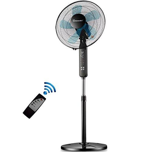 Cooler 360 oscillating Floor standing fan,Adjustable height 3 speed Pedestal fan,Electric fan Fs40-6a Floor fan Five-leaf Remote control Timing fan-Black 41x125cm(16x49inch)