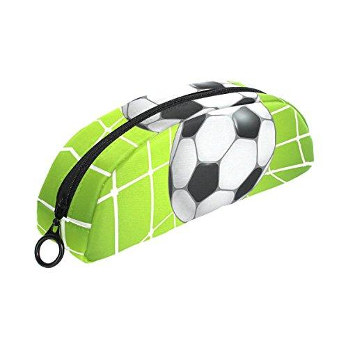 COOSUN Football Soccer in Net Pencil Case Semicircle Stationery Pen Bag Pouch Holder Case Makeup Pouch Cosmetic Bag for Women Girls