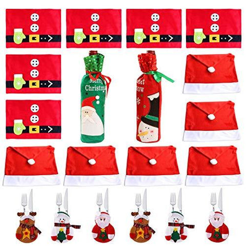 COSORO Christmas Dinner Table Decoration - 6 Santa Clause Hat Chair Back Cover+ 6 Cutlery Holders Pockets+ 6 Table Mats+ 2 Christmas Wine Bottle Cover Bags for Xmas Home Party Cutlery Decor Suit