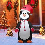 COSTWAY 1.2M Inflatable Christmas Penguin, Upgraded Built-in Blower, Light Up Waterproof Xmas Decoration and Gift for Indoor Outdoor