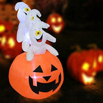 COSTWAY 1.5M Inflatable Halloween Pumpkin Ghost Decoration, Light Up Festival Decorations Outdoor Indoor for Home, Lawn and Garden