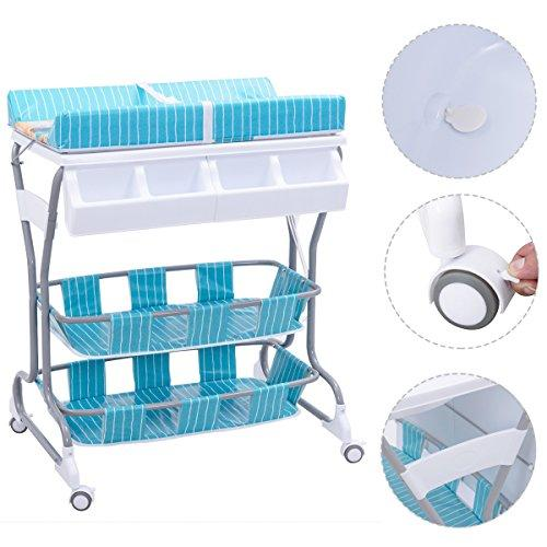 Costway 2 in 1 Infant Changing Table Baby Bath Tub Unit Rolling Station Storage Dresser (Blue)