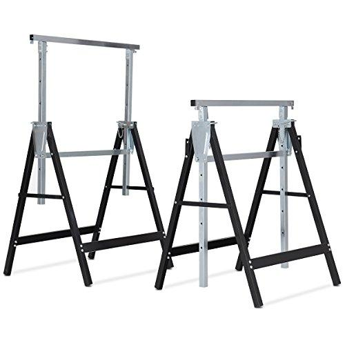 COSTWAY 2 x Telescopic Saw Horse Trestles with Adjustable Height & Folding Legs, Galvanized Steel Portable DIY Work Bench for Builders Carpenter, 200kg Weight Capacity Each