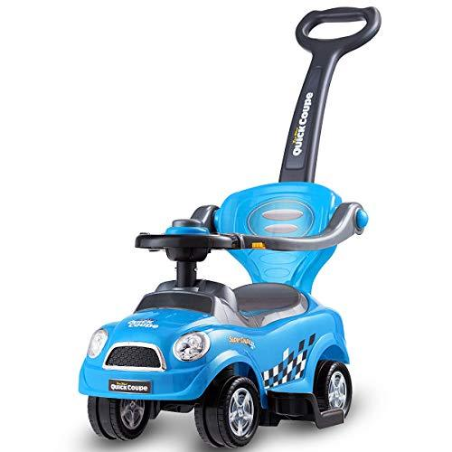 COSTWAY 3 in 1 Ride on Push Car, with Horn Sound, Parent Handle Push Bar, Premium 4 Wheels, Upgrade Safety Barrier, Storage Compartment, Convertible Baby Stroller for Toddler (Blue)