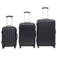 Costway 3 PCS Travel Suitcase Set Luggage Trolleys Bag ABS Hard Shell Cabin Hand Black Grey (Black)
