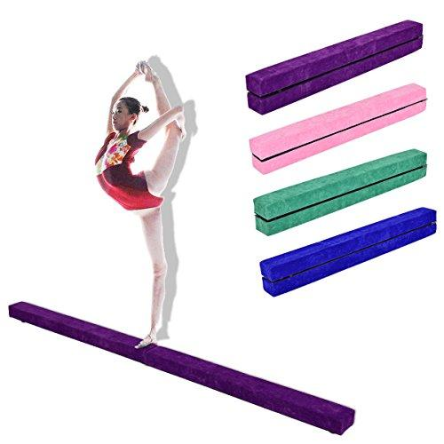 COSTWAY 7FT 2.1M Gymnastics Folding Balance Beam 10FT Tumble Mat Gym Home Training Sport (Purple)