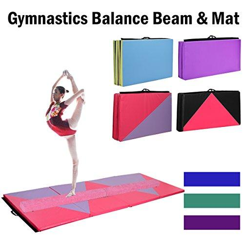 COSTWAY 7FT 2.1M Gymnastics Folding Balance Beam & Gym Tumble Mat Home Indoor Training Sport (Pink Beam +Color 2 Mat)