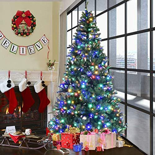 COSTWAY 9FT Christmas Tree, Luxury Green Xmas Trees, 11 Modes Lights Effects with Controller | Changing Multi-coloured Light and Warm White Light | Quick Set-up