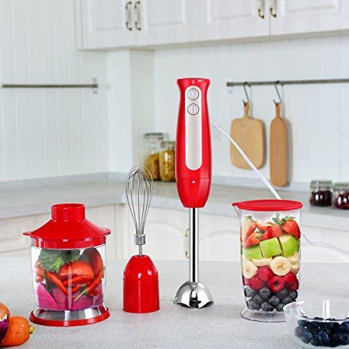 COSTWAY Hand Blender 3-in-1 Immersion Blender Set Whisk Stainless Steel Blade 700ml Breaker 500ml Food Choper Whisk 600W Handheld Electric Food Mixer Processor (600 W Red)