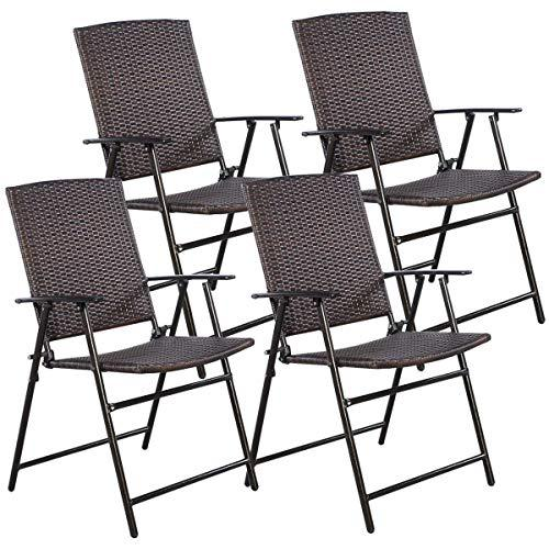 COSTWAY HW51584 P 4 PCS Folding Patio Outdoor Pool Lawn Portable Wicker Armrest & Footrest Durable Rattan Steel Frame Commercial Foldable Stackable Party Wedding Chair Set (24X23X, Mix Brown