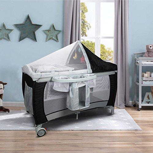 Costway Infant Travel Cot Bed Baby Play Pen Child Bassinet Playpen Entryway W/Bag & Net Christmas Gifts (Black)